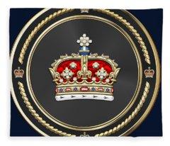 Crown Of Scotland Over Blue Velvet Fleece Blanket