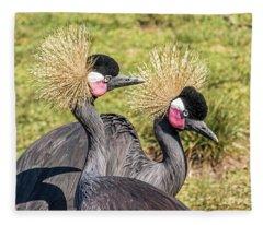 Crowned Cranes Fleece Blanket