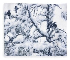 Crows In Snow Fleece Blanket