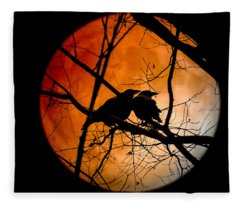 Crows Moon Fleece Blanket
