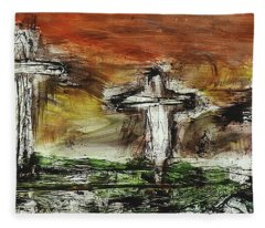 Fleece Blanket featuring the painting Crucifixion #2 by Michael Lucarelli