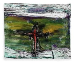 Fleece Blanket featuring the painting Crucifixion #3 by Michael Lucarelli