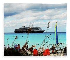 Cruise Ship At Half Mon Cay Fleece Blanket
