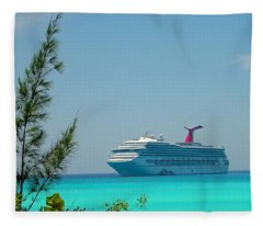 Cruise Ship At Half Moon Cay Fleece Blanket