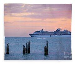 Cruise Ship At Key West Fleece Blanket