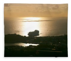 Cruise Ship At Sunset Fleece Blanket