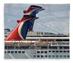 Cruise Ships In Cozumel, Mexico Fleece Blanket
