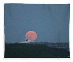 Cruising On A Wave During Harvest Moon Fleece Blanket