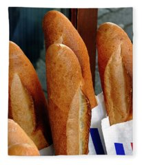 Crusty French Bread Loaves Display At Bakery Entrance Fleece Blanket