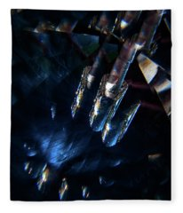 Blue Feather Viewed Through Leaded Crystal  Fleece Blanket