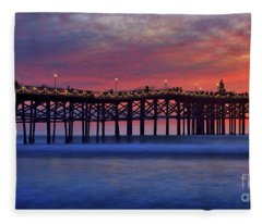 Crystal Pier In Pacific Beach Decorated With Christmas Lights Fleece Blanket