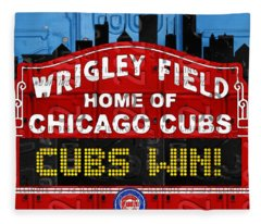 Cubs Win Wrigley Field Chicago Illinois Recycled Vintage License Plate Baseball Team Art Fleece Blanket