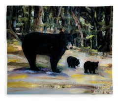 Cubs With Momma Bear - Dreamy Version - Black Bears Fleece Blanket