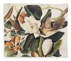 Cuckoo On Magnolia Grandiflora Fleece Blanket