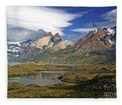 Cuernos Del Pain And Almirante Nieto In Patagonia Fleece Blanket