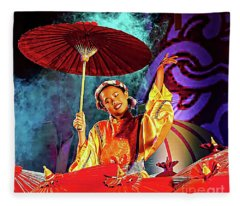 Cultural Parasol Dance Fleece Blanket