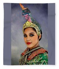 Cultural Siam Dancer Portrait Fleece Blanket