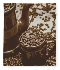 Cup And Teapot Filled With Roasted Coffee Beans Fleece Blanket