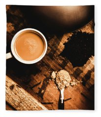 Cup Of Tea With Ingredients And Kettle On Wooden Table Fleece Blanket