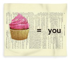 Pink Cupcake Equals You Print On Dictionary Paper Fleece Blanket