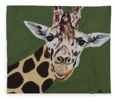 Curious Giraffe Fleece Blanket