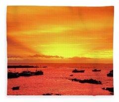 Currie Fishing Fleet. Fleece Blanket