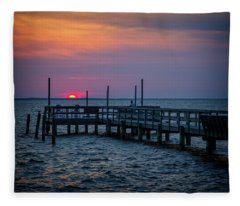 Currituck Sunset Fleece Blanket
