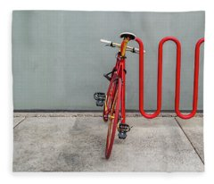Curved Rack In Red - Urban Parking Stalls Fleece Blanket