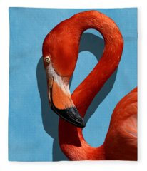 Curves, A Head - A Flamingo Portrait Fleece Blanket