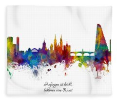 Custom Artwork Basel Switzerland Skyline Fleece Blanket