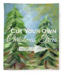 Cut Your Own Tree- Art By Linda Woods Fleece Blanket