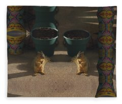 Cute Baby Squirrels On The Porch Fleece Blanket