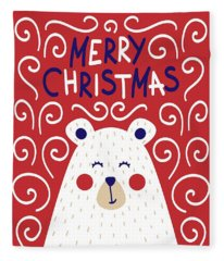 Cute Christmas Card With A Picture Of A Bear In A Scandinavian S Fleece Blanket