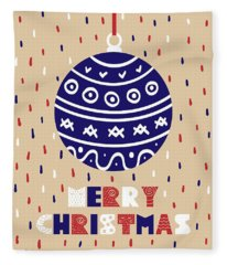 Cute Christmas Card With A Picture Of A Christmas Ball Fleece Blanket