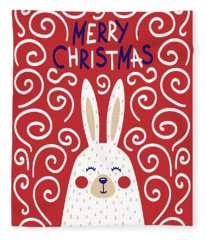 Cute Christmas Card With A Rabbit In A Scandinavian Style Fleece Blanket