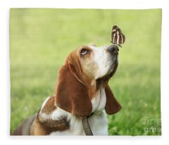 Cute Dog With Butterfly On His Nose Fleece Blanket