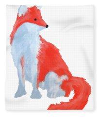 Cute Fox With Fluffy Tail Fleece Blanket