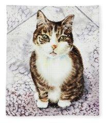Cute Furry Friend Cat Painting Fleece Blanket
