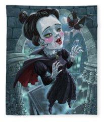 Cute Gothic Horror Vampire Woman Fleece Blanket