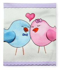 Cute Lovebirds Watercolour Fleece Blanket