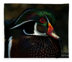Cute Male Wood Duck Fleece Blanket