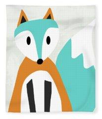 Cute Orange And Blue Fox- Art By Linda Woods Fleece Blanket