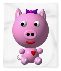 Cute Pink Pig With Purple Bow Fleece Blanket