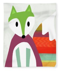 Cute Purple And Green Fox- Art By Linda Woods Fleece Blanket
