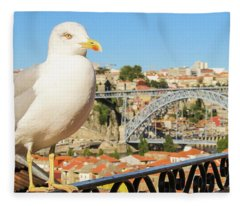 Cute Seagull And Porto's Cityscape Fleece Blanket