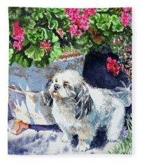 Cute Shih Tzu Dog Under Geranium  Fleece Blanket