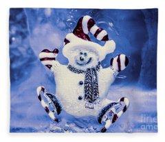 Cute Snowman In Ice Skates Fleece Blanket