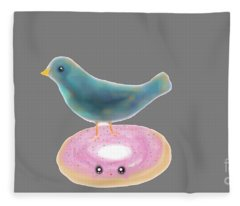 Kawaii Donut And Blue Bird  Fleece Blanket