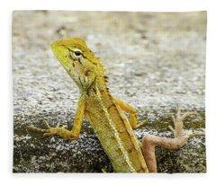 Cute Yellow Lizard Fleece Blanket