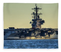 Cvn77 Bush Aircraft Carrier Fleece Blanket